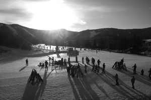 Killington Resort Showshed sunset 31 Dec 2010 (thumb b&w)